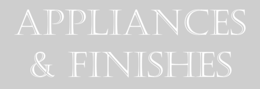 Appliances and finishes heading text